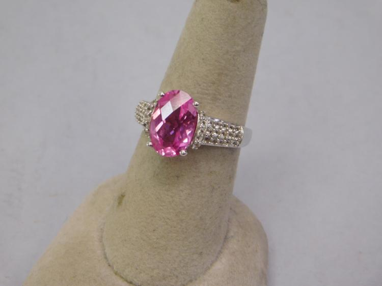 Modern Sterling Pink Cz And Diamond Chip Fashion
