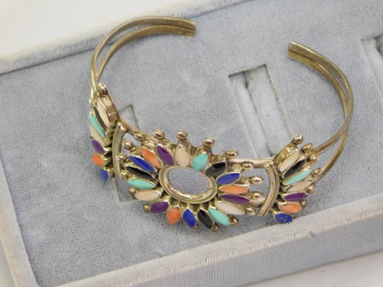 Lot 128: Vintage Zuni Sterling Multi Stone Cuff Bracelet
