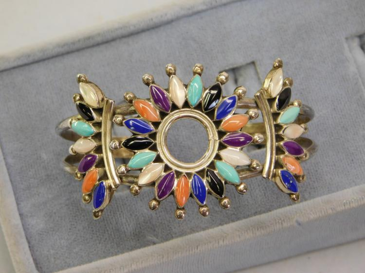 Vintage Zuni Sterling Multi Stone Cuff Bracelet
