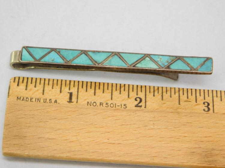 Lot 130: Vintage Navajo Sterling Turquoise Inlaid Tie Clip