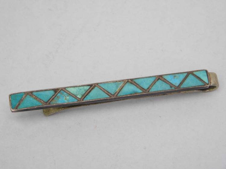 Vintage Navajo Sterling Turquoise Inlaid Tie Clip