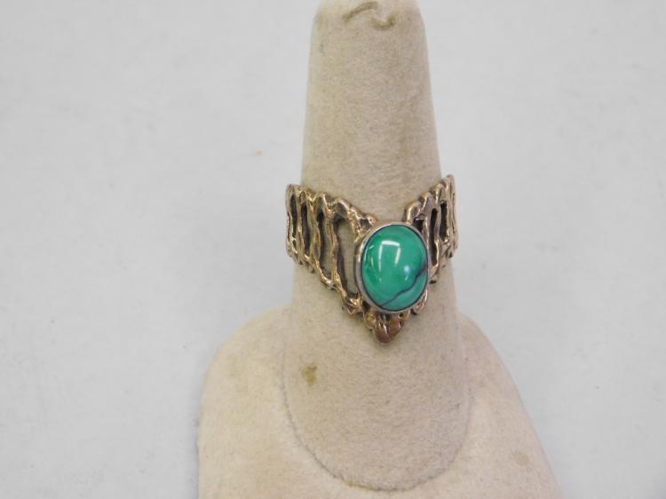 Lot 131: Modern Navajo Sterling Kings Manassa Turquoise