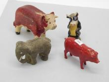 Lot 132: Antique Lot Of Carved Cow Composition Elephant