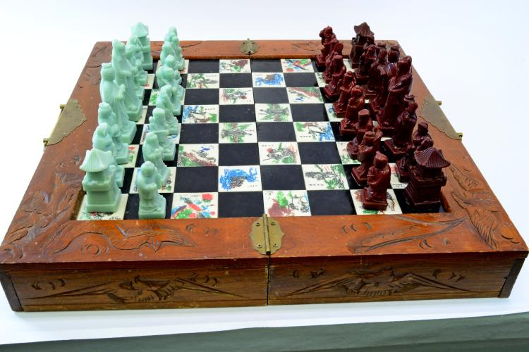 Vintage Brass Carved Wood Resin Chinese Chess Set