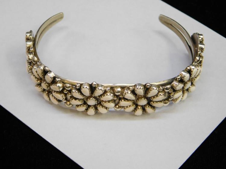 Vintage Zuni Sterling White Buffalo Cuff Bracelet