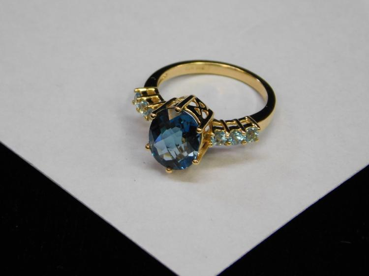 New Modern Gold Over Sterling Blue Cz And Topaz