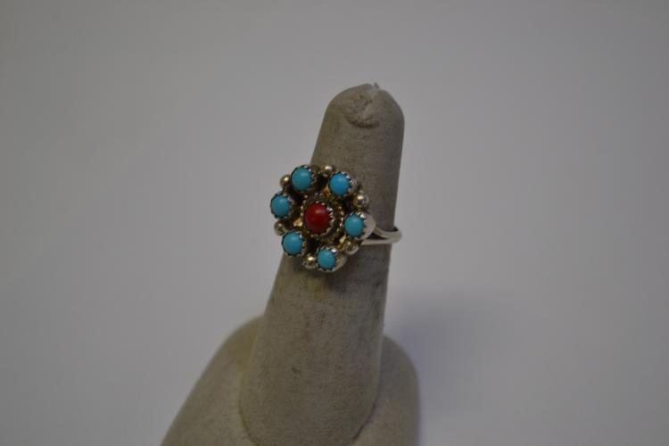 Vintage Navajo Sterling Turquoise And Coral Cluster Ring