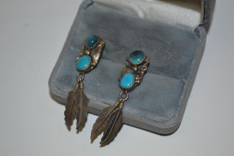 Vintage Navajo Sterling And Turquoise Feather Dangle Earrings