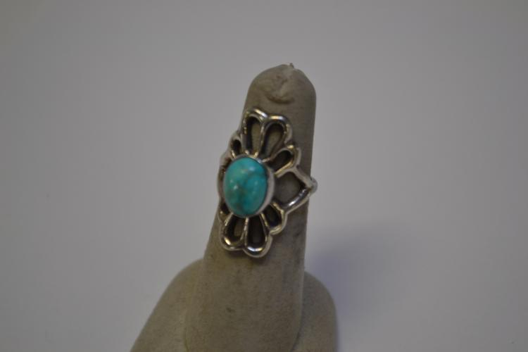 Vintage Navajo Sterling Turquoise Sand Cast Ring Size