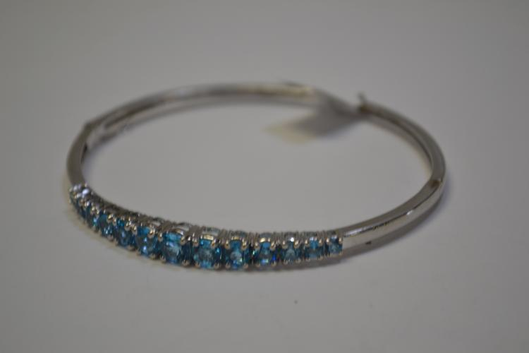 Modern Sterling Silver And Blue Topaz Gemstone Bangle Bracelet