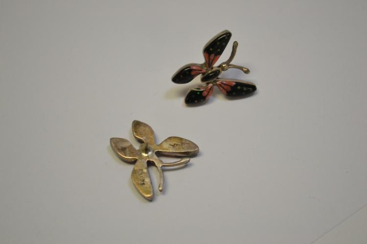 Lot 159: Vintage Sterling Zuni Pink Black And Opal Inlaid Butterfly Earrings