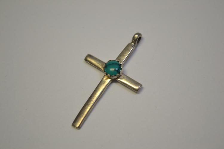 Vintage Navajo Sterling And Turquoise Religious Cross Pendant