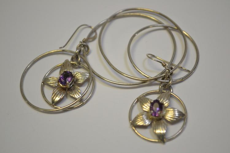 Modern Navajo Sterling Amethyst Flower Hoop Dangle Earrings