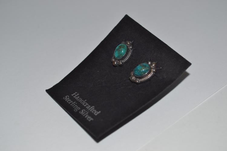 Vintage Sterling Turquoise Navajo Earrings