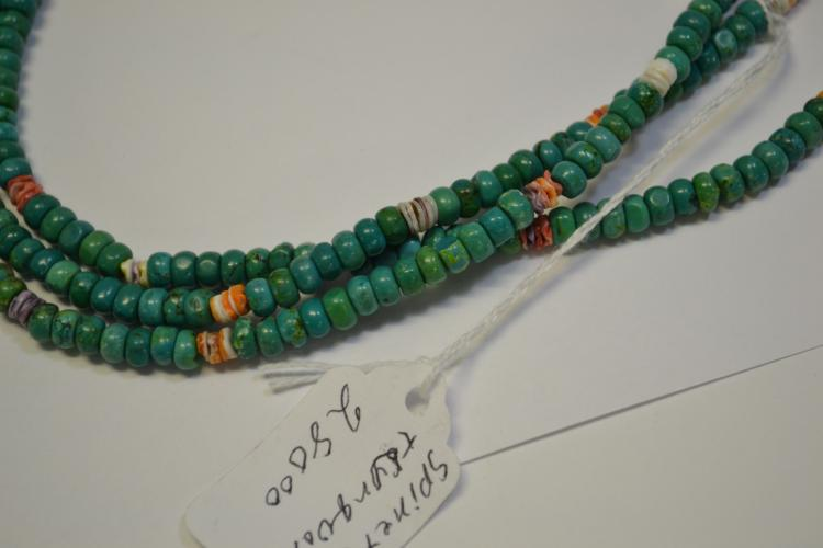 Lot 175: Navajo Turquoise And Spiny Oyster Triple Strand Necklace