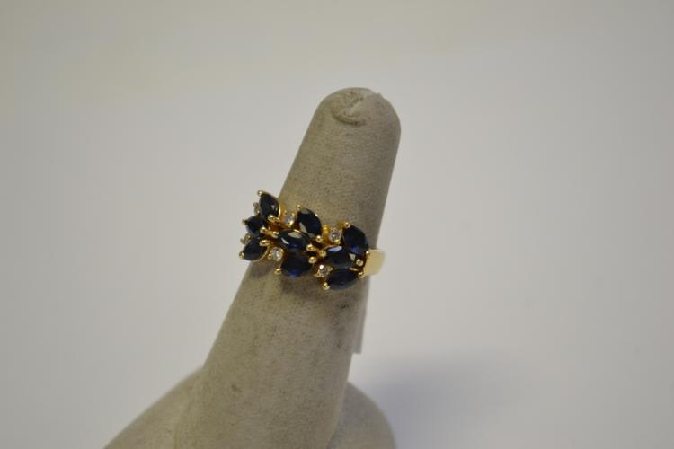 Lot 176: 14 Karat Gold Diamond And Blue Sapphire Ring 4.7G