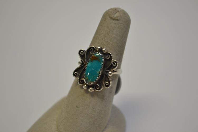 Lot 180: Vintage Navajo Sterling Silver Turquoise Ring