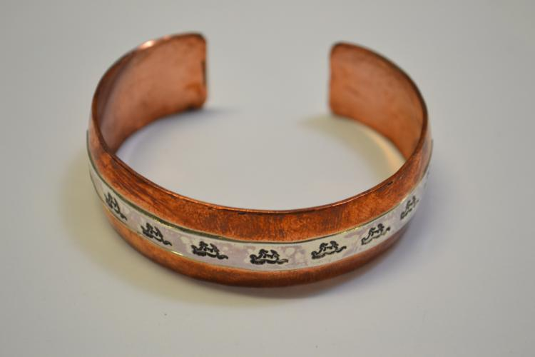 Navajo Copper Sterling Horse Motif Cuff Bracelet Signed Dl