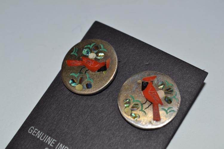 Vintage Inlaid Cardinal Sterling Sammy & Esther Guardian Earrings