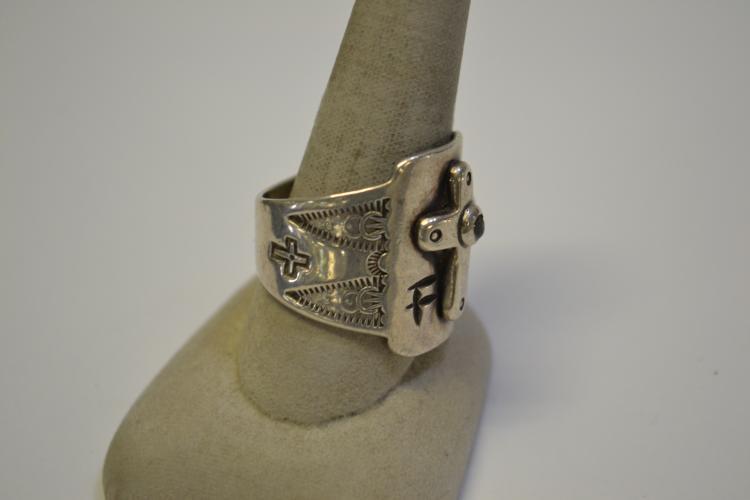 Lot 185: Vintage Sterling Large Navajo Men's Religious Cross Ring