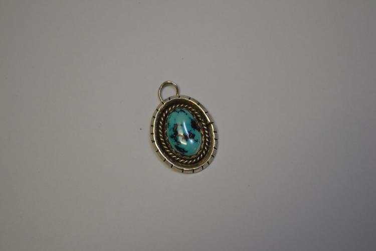 Vintage Navajo Sterling Black Speckled Turquoise Pendant
