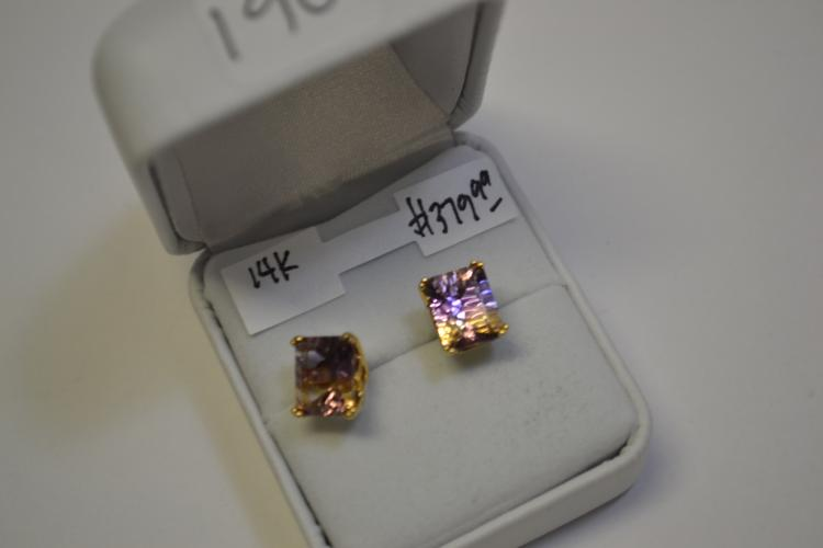 14 Karat Gold Citrine Amethyst Faceted Post Earrings
