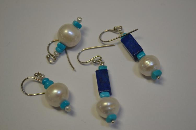 2Pr Navajo Pearl Lapis & Turquoise Dangle Earrings