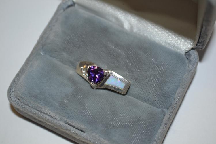 Modern Sterling Dark Amethyst Opal & Cz Pendant
