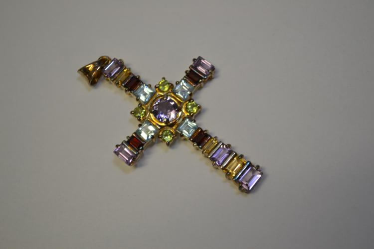 Sterling Amethyst Topaz Garnet Citrine Faceted Gemstone Religious Cross Pendant