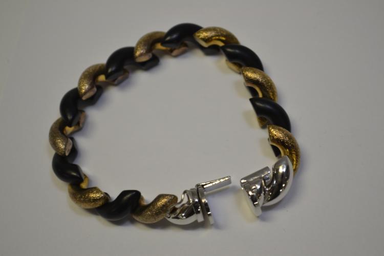 Lot 200: 30 Gram Sterling Black And Gold Designer Bracelet