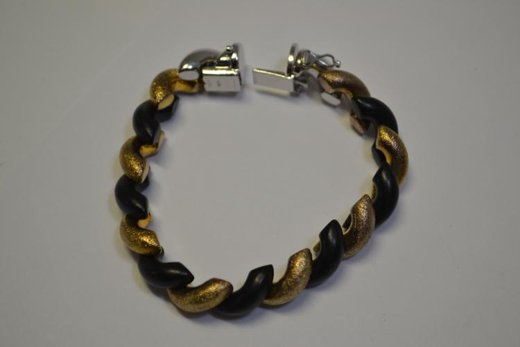 30 Gram Sterling Black And Gold Designer Bracelet