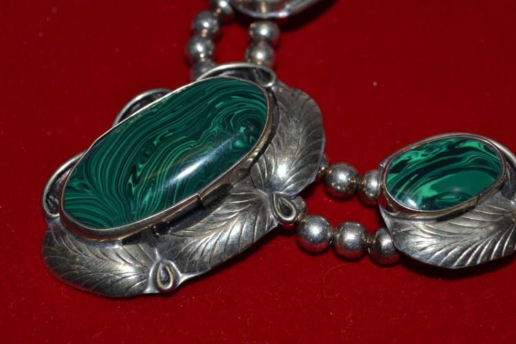 Lot 172: Vintage Navajo Nickel Silver And Malachite Squash Blossom Style Necklace