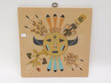 Navajo Four Way Points Sand Painting Signed Marie Chee