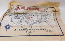 Vintage Lackland Air Force Base San Antonio Texas Humorous Cloth Us Map