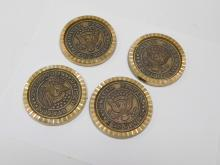 Set Of Four United States Congress Brass Drink Coasters