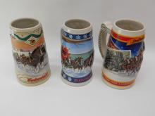 Lot Of 3 1995 1996 1999 Budweiser Holiday Beer Steins