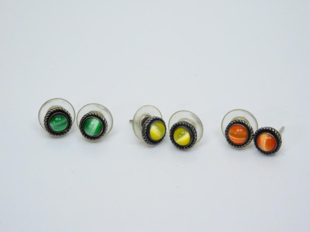3Pr Vintage Native American Sterling Silver Orange Yellow & Green Selenite Dot Earrings 7G