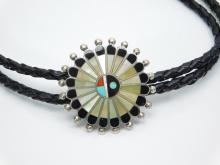 Lot 1: Vintage Native American Zuni Sterling Silver Inlaid Mop Black Onyx Turquoise Coral Sunface Sunburst Bolo Tie 31G