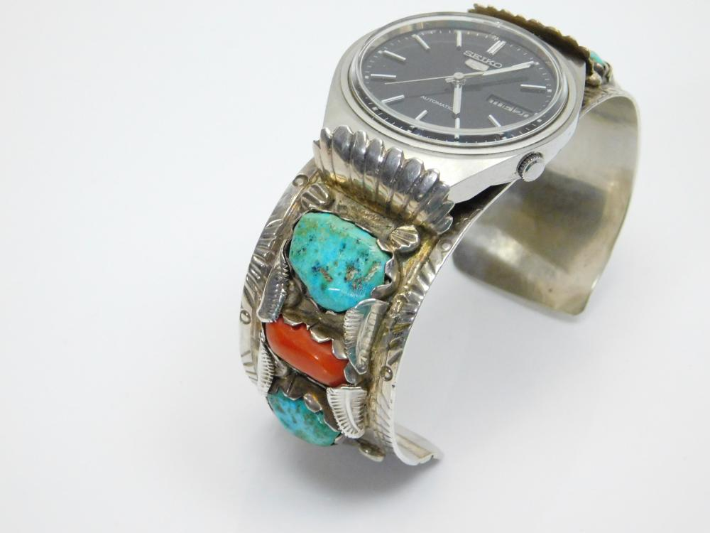 Lot 6: Vintage Native American Zuni Sc Nastacio Mens Sterling Turquoise Coral Seiko Automatic Cuff Bracelet Watch 93G