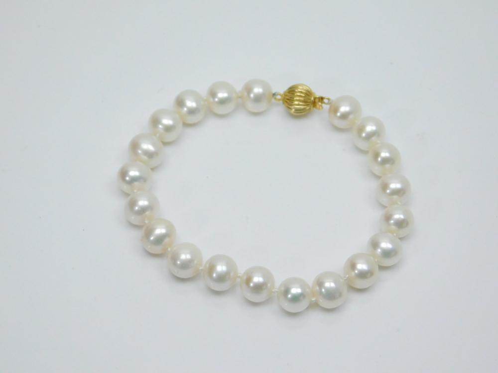 Vintage 14Kt Gold Ball Clasp Cultured Pearl Bracelet 14G