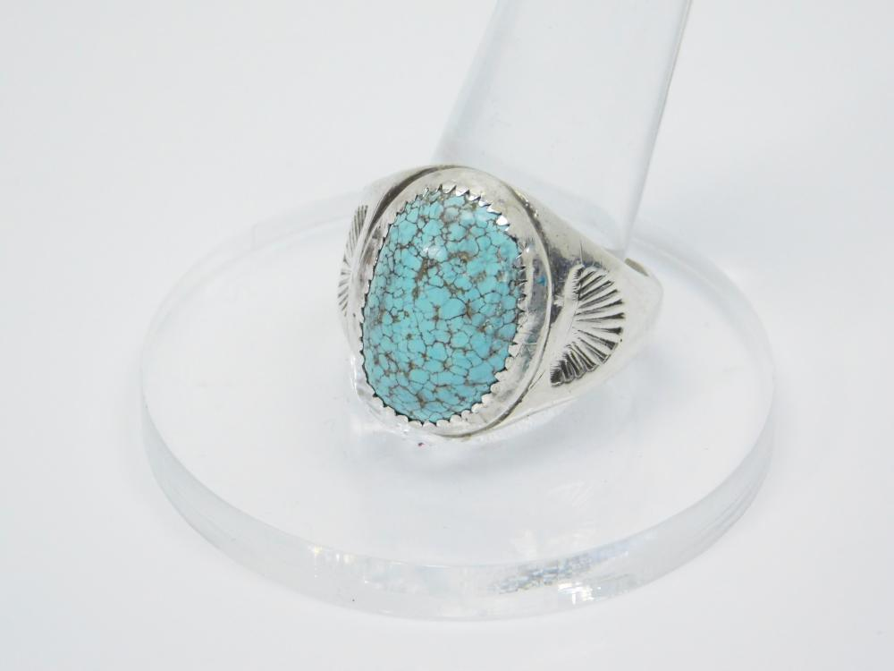 Lot 12: Vintage Native American Navajo Sterling Silver Spiderweb Turquoise Mens Ring 12.9G Sz12