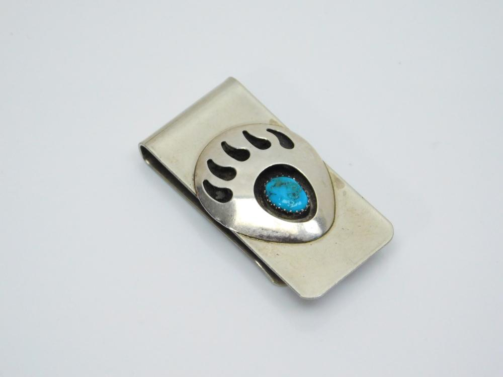 Lot 16: Vintage Native American Silver On Nickel Turquoise Shadowbox Bearpaw Money Clip 20G