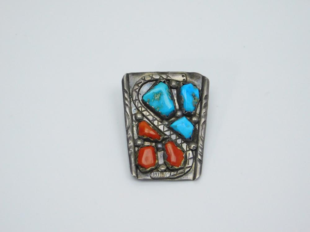 Lot 20: Vintage Native American Navajo Wayne Cheama Sterling Silver Turquoise Coral Rattlesnake Bolo Tie 14G