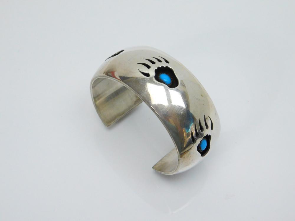 Lot 23: Vintage Native American Hopi A Jensen Sterling Silver Turquoise Shadowbox Bearpaw Cuff Bracelet 59G