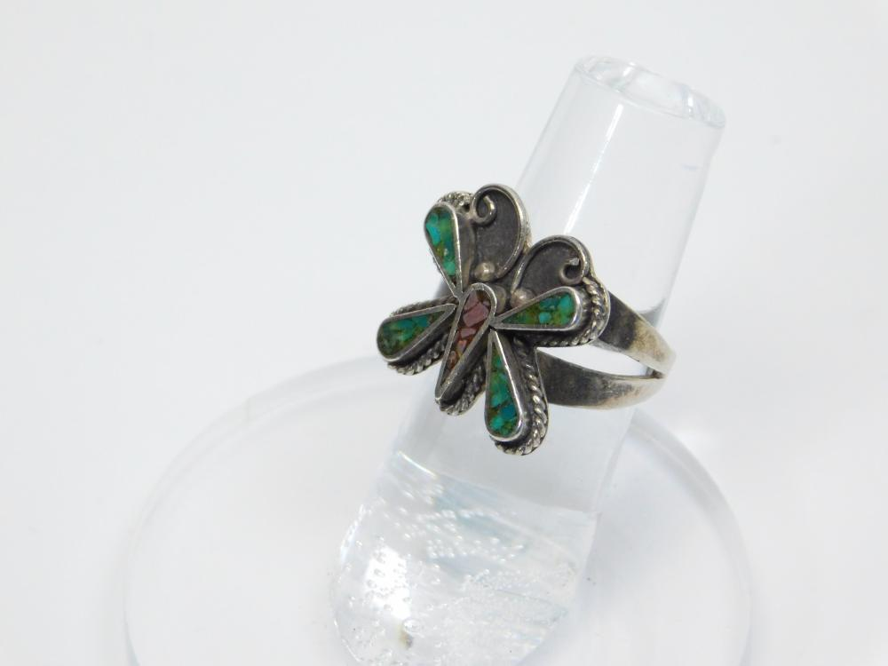 Vintage Native American Sterling Silver Turquoise Coral Chip Inlay Butterfly Ring 5.2G Sz7.5