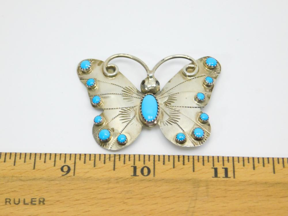 Lot 27: Vintage Native American Navajo Franck & Louise Yazzie Sterling Turquoise Butterfly Brooch 8.5G