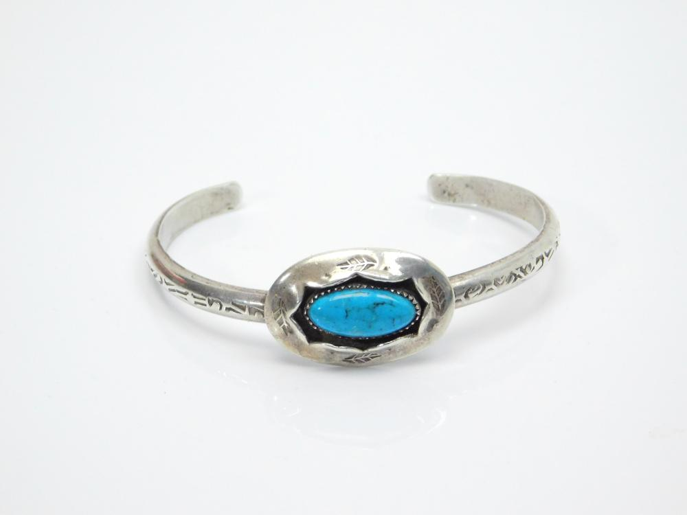 Lot 29: Vintage Native American Hopi Sterling Silver Turquoise Shadowbox Stamped Feather Cuff Bracelet 20.8G