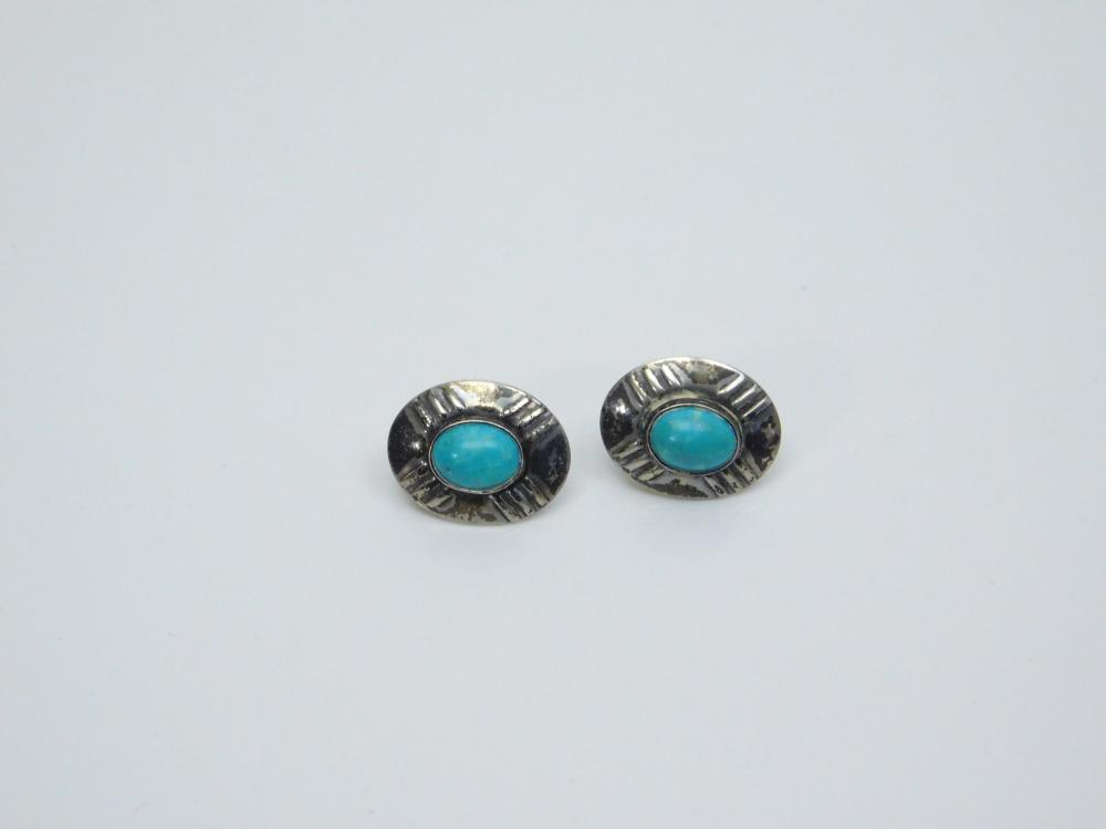 Lot 30: Vintage Native American Sterling Silver Turquoise Concho Style Earrings 3.6G