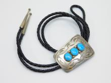 Lot 31: Vintage Native American Navajo Sterling Turquoise Stamped Bolo Tie 27G