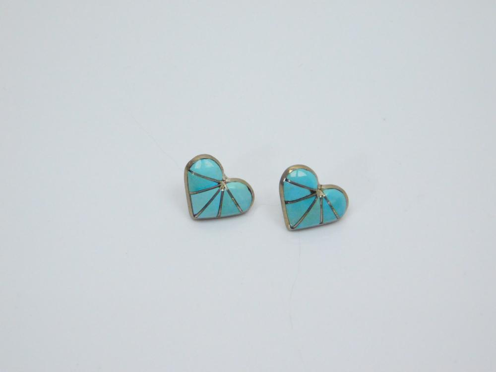 Vintage Native American Zuni K.E.K. Sterling Turquoise Inlay Heart Earrings 3G
